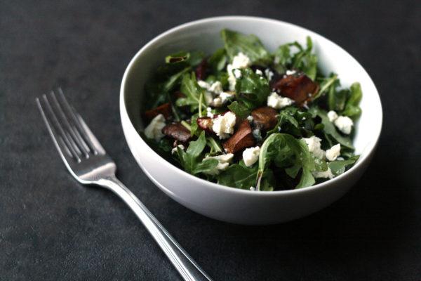 Arugula Salad with Balsamic Roasted Radishes and Sweet Potatoes
