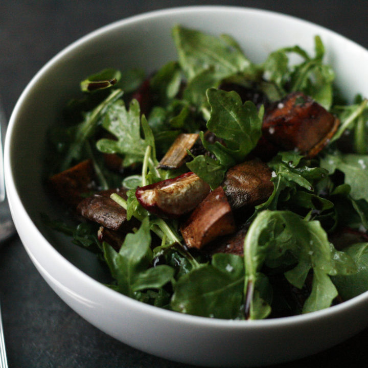 Arugula Salad with Balsamic Roasted Radishes and Sweet Potatoes