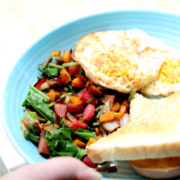 Beet, Carrot and Onion Breakfast Bowl with Fried Eggs