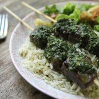 Brazilian Marinated Steak Skewers with Chimichurri and Rice