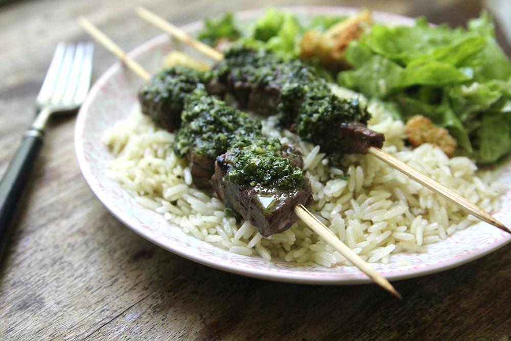 Marinated Steak Skewers with Chimichurri with Mahatma rice