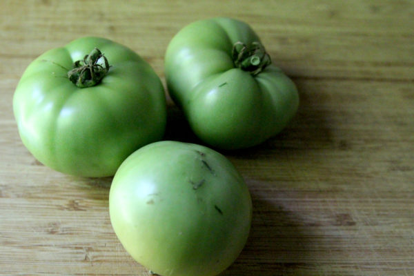 Green tomatoes are perfect for roasting.