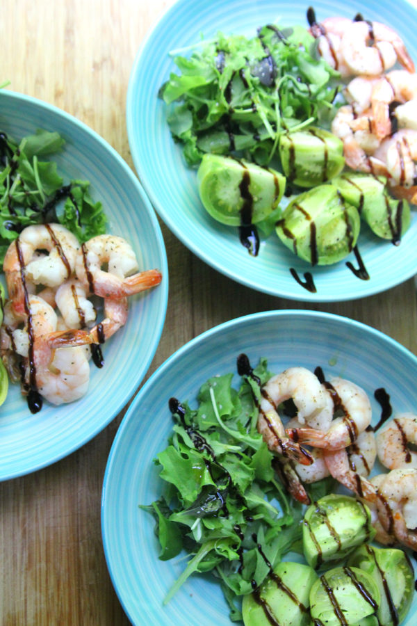 Three plates of Roasted Shrimp and Green Tomato Salad