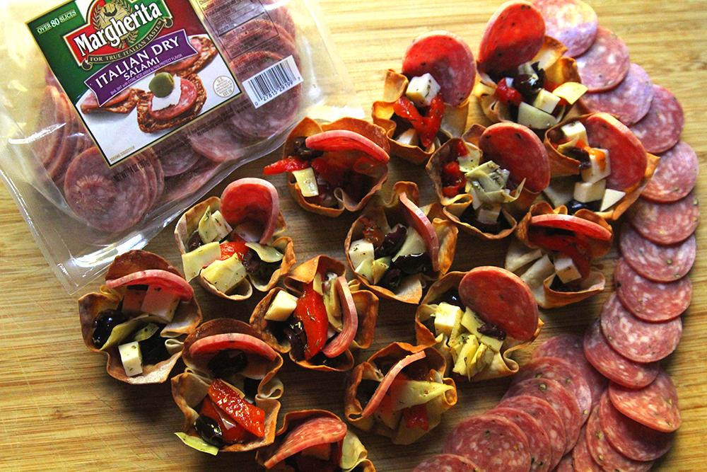 Salami Antipasto Wonton Appetizers