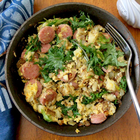 Bratwurst Skillet with Eggs and Baby Kale