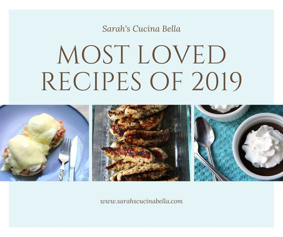 Most Loved Recipes of 2019 graphic for Sarah's Cucina Bella. Light blue with words and three pictures: Lobster Benedict, Chicken Souvlaki and Mexican Chocolate Pots de Creme.