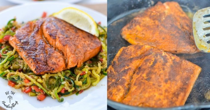 Whole30 Keto Blackened Salmon with Cajun Zoodles