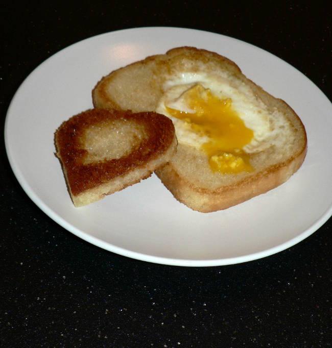 Heart Shaped Egg in the Hole Breakfast