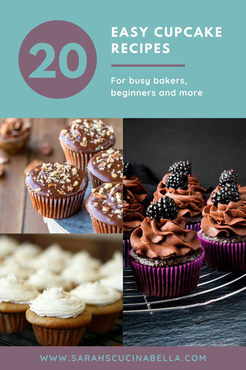 20 Easy Cupcake Recipes graphic. This shows three cupcake photos — a brown cupcake with brown frosting and a blackberry on top; a caramel colored cupcake with white frosting and a brown cupcake with brown glaze and chopped nuts.