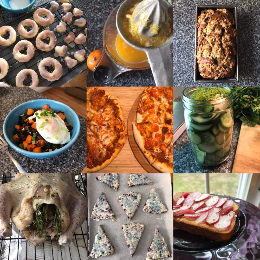 Cooking More? Try Mastering These 9 Dishes: donuts, juice, bread, poached eggs, pizza, pickles, roast chicken, scones and fancy toast