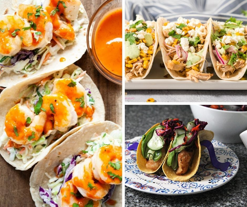 Three photos of taco dinner ideas — one with shrimp and an orange sauce, one with shredded chicken and an array of toppings and one with fried fish and a veggie slaw.