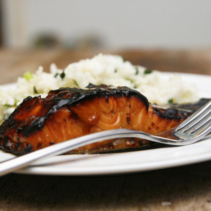 Broiled Teriyaki Salmon with Spring Onion Rice