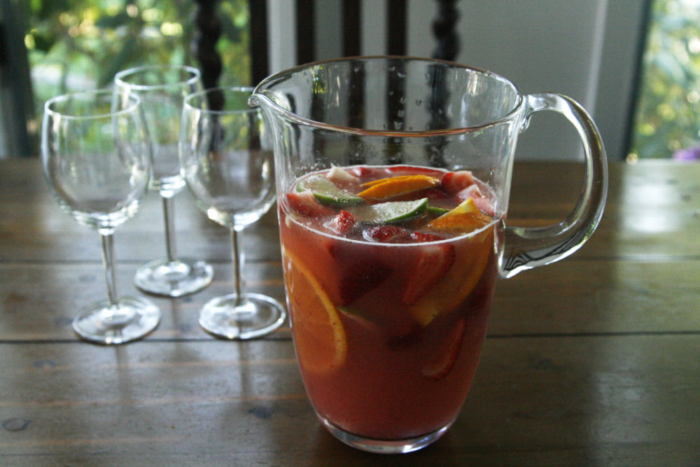 summer sangria in a pitcher - a lovely drink for spring or summer
