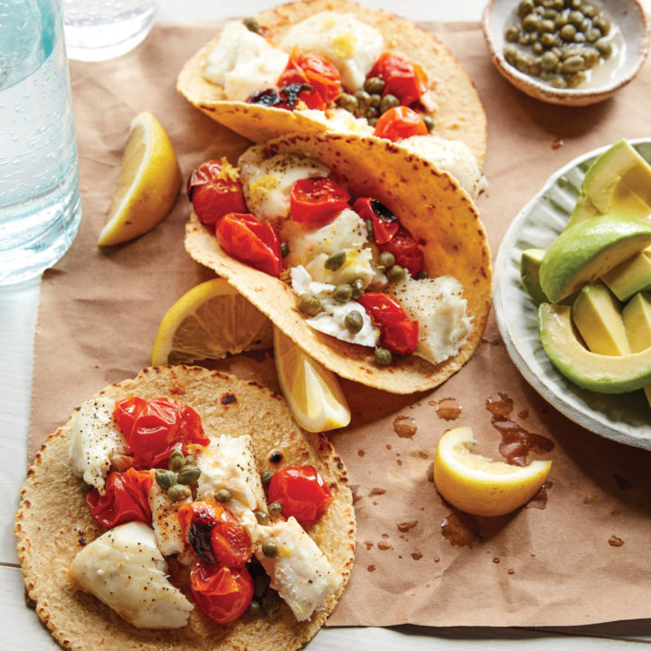 Lemon Caper Fish Tacos with Blistered Tomatoes and Avocado