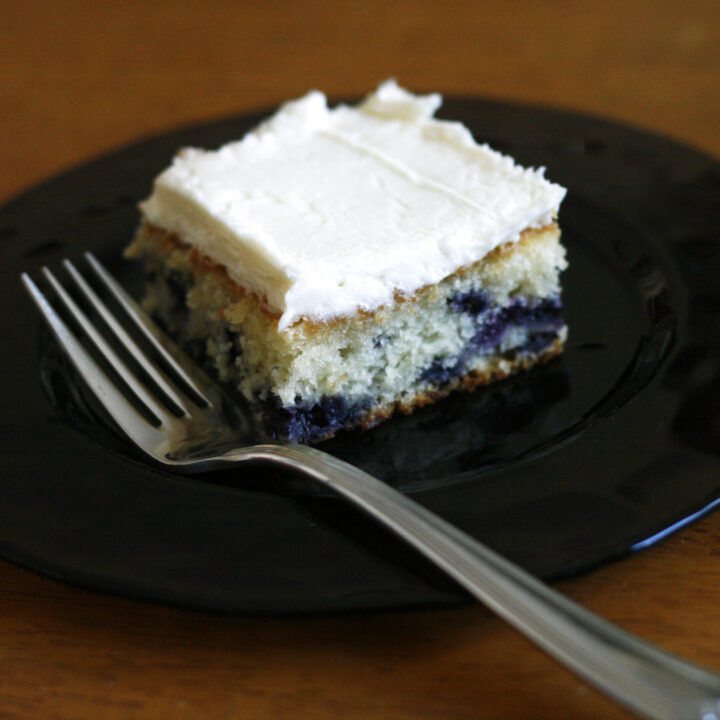 Blueberry Cake with Fluffy Vanilla Frosting