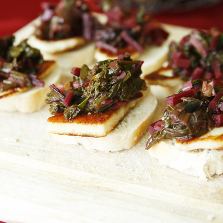 Fried Halloumi with Beet Greens Bruschetta