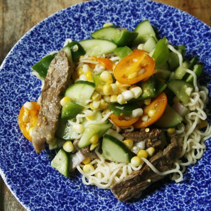 Lemony Steak and Veggie Ramen Noodle Salad