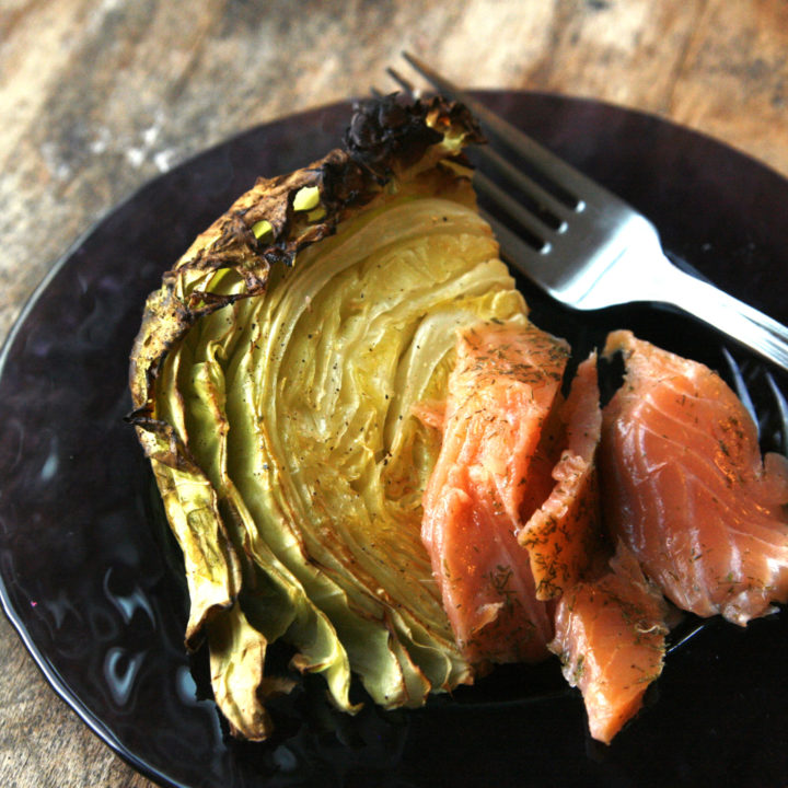 Roasted Cabbage with Smoked Salmon