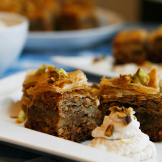 Pistachio Walnut Honey Baklava with Cinnamon Whipped Cream