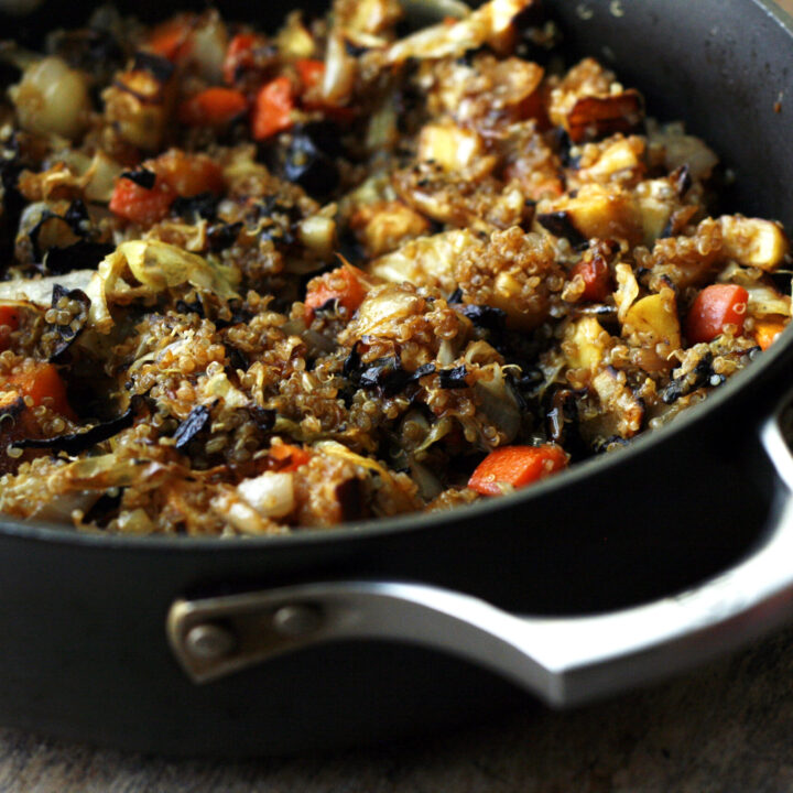 Fried Rice-Style Quinoa with Roasted Vegetables
