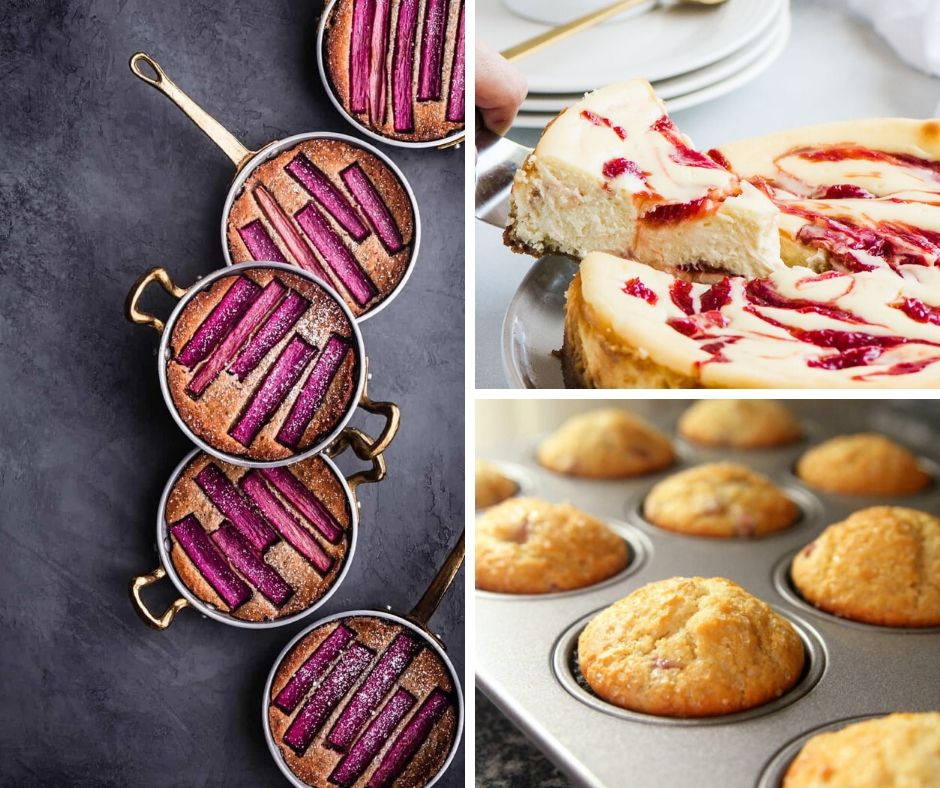 33 Ways to Cook with Rhubarb This Season - This image is a collage of three recipes featuring rhubarb.