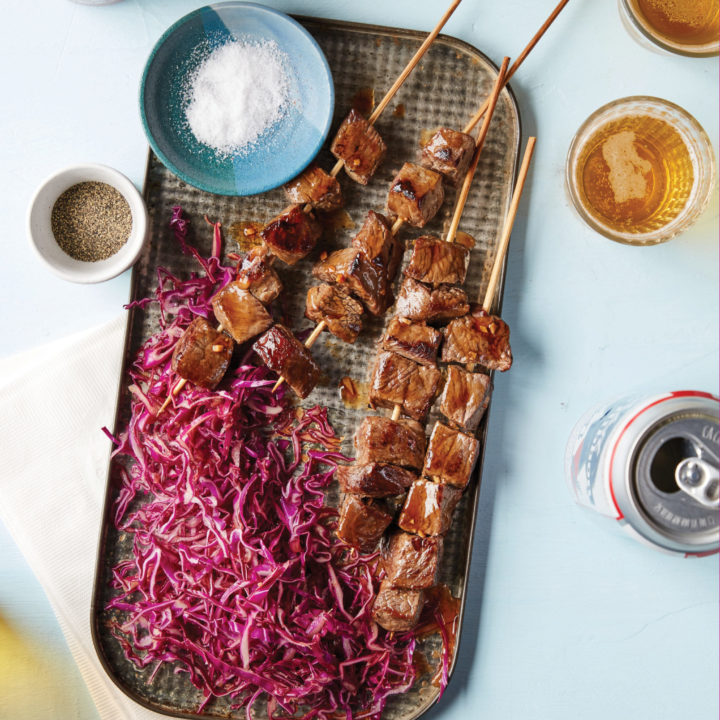 Hoisin Beef Skewers with Gingery Red Cabbage Slaw