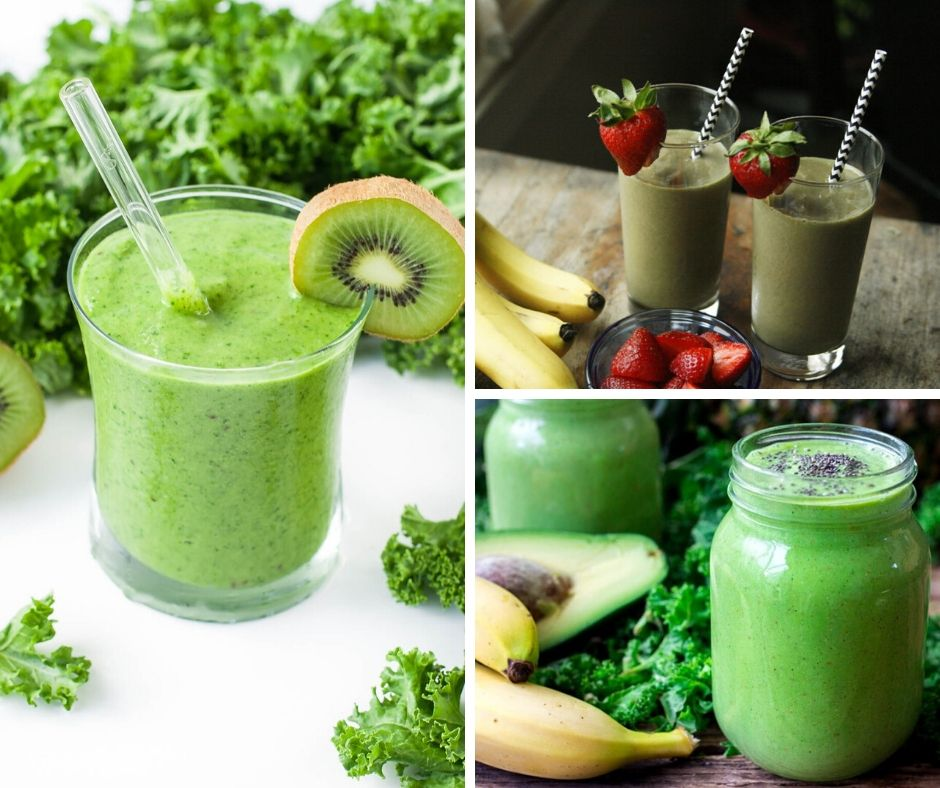 In three photos, this shows three different smoothies in shades of green.