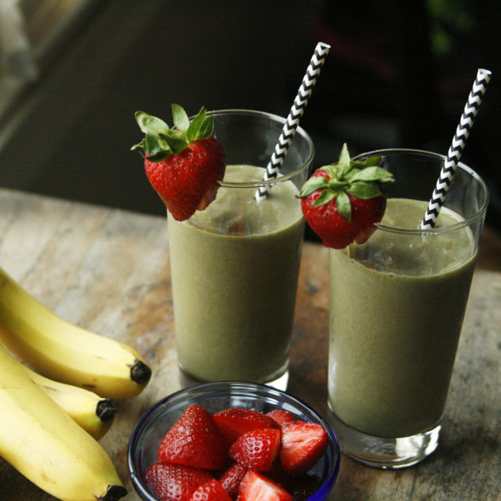 Strawberry-Banana Green Smoothies