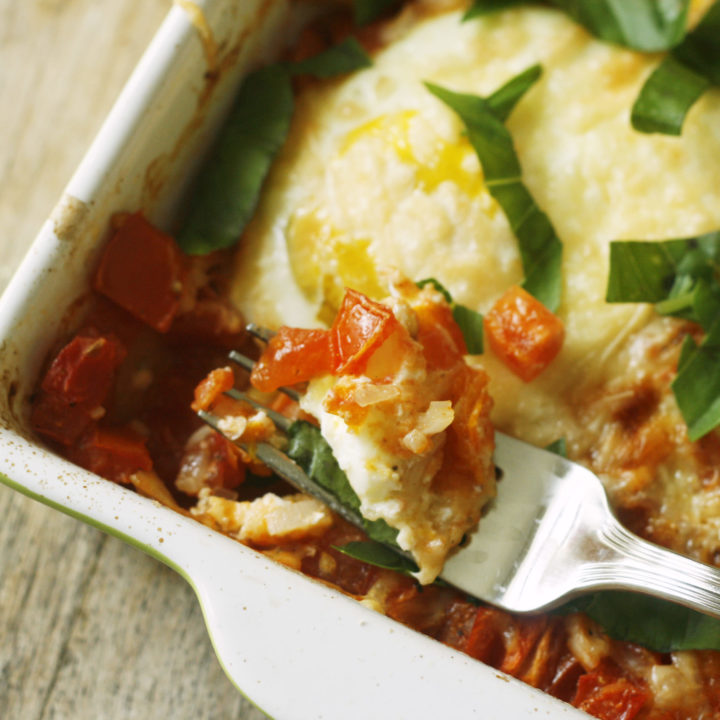 Baked Egg for One with Tomatoes and Onions
