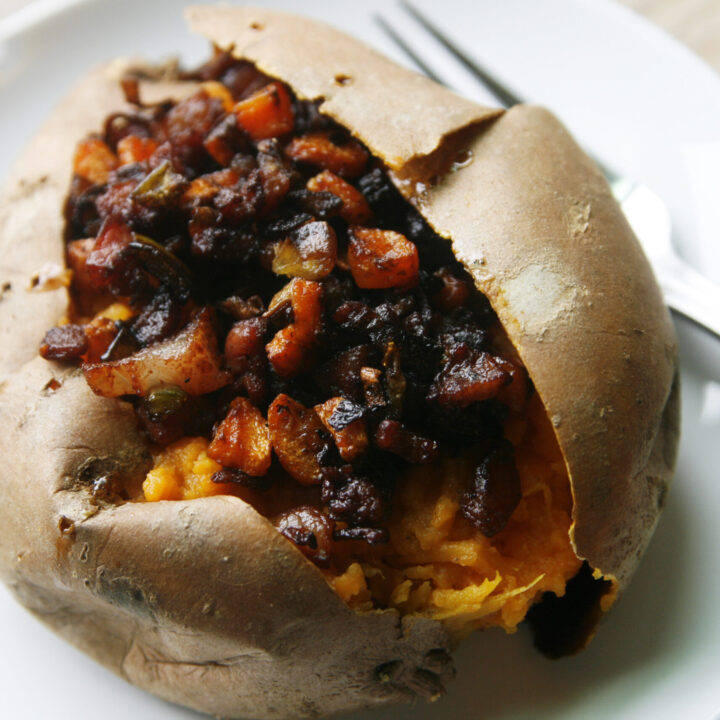 Baked Sweet Potatoes with Crispy Pancetta Veggie Topping