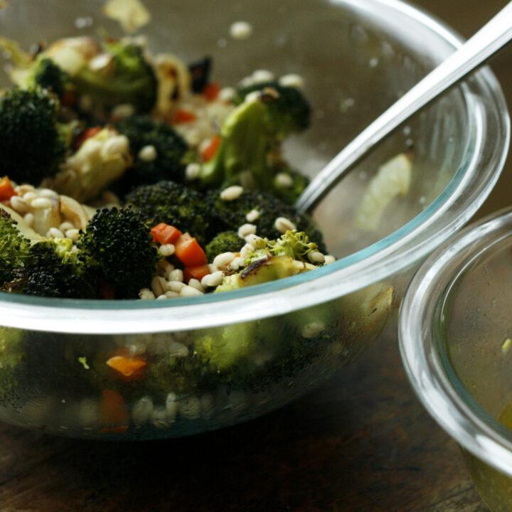 Roasted Broccoli Grain Bowl with Shallot Vinaigrette