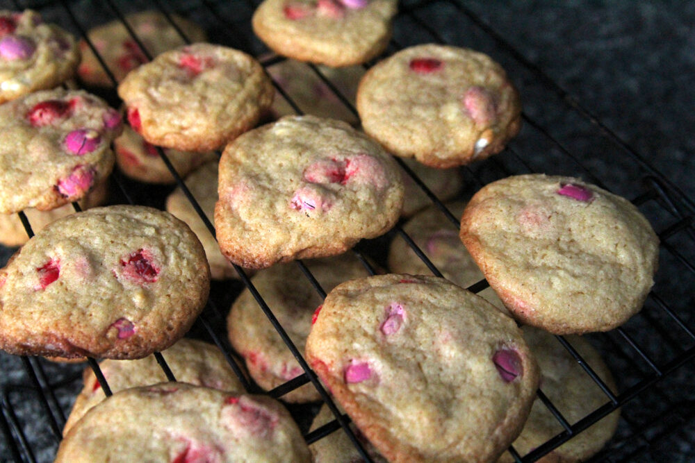 A cooling rack with M&M Cookies for Valentine's Day is shown.