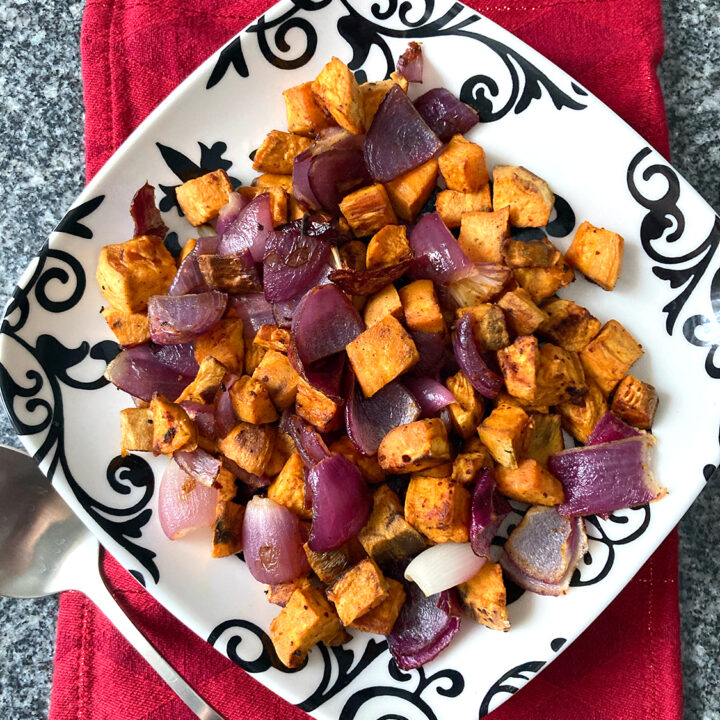 Roasted Sweet Potatoes and Red Onions with Gochujang Seasoning