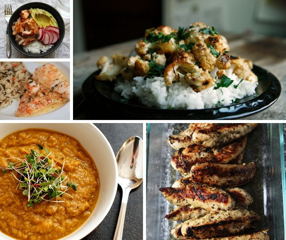 A collage of 5 photos illustrating healthy dinner recipes. These include a rice bowl with salmon, avocado and radishes, roasted fish, a cauliflower soup, marinated chicken and a cauliflower dish served on rice.