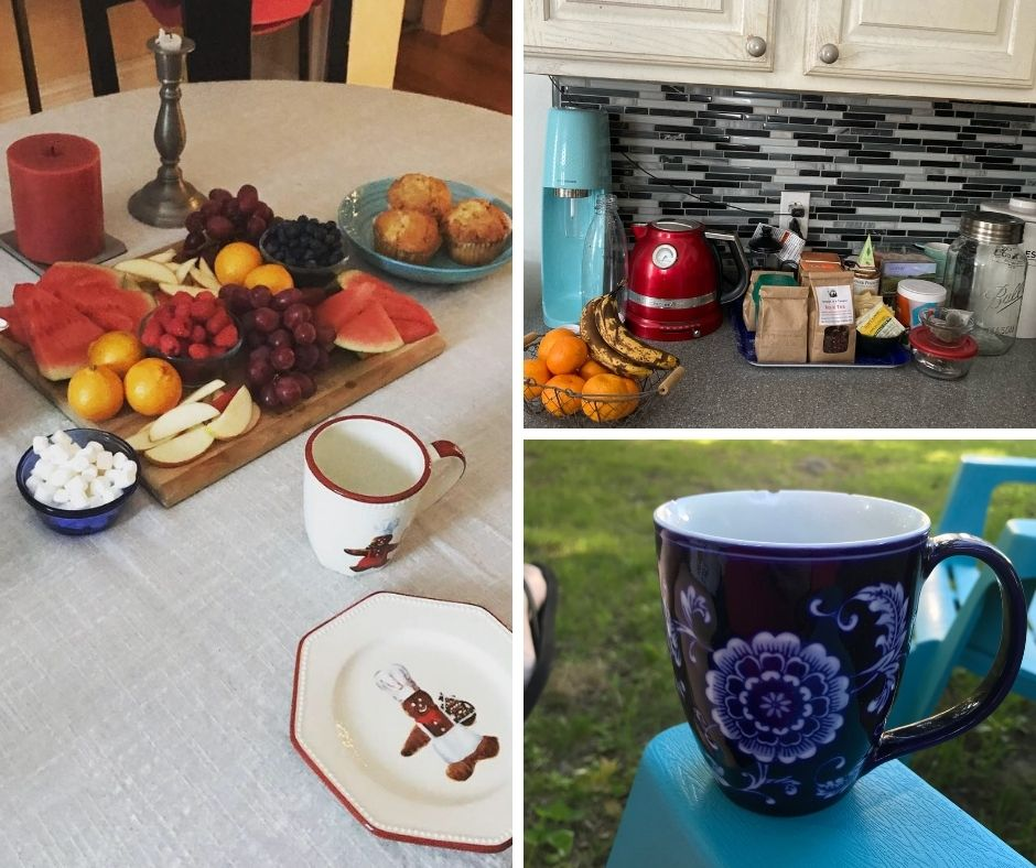 A collage of three photos to illustrate this post about things important to a house-hunting food writer is shown. One shows a table laid for breakfast with plates, a breakfast board and muffins. Another shows a hot drink bar in a kitchen featuring a kettle, teas and more. One shows a coffee cup perched on the arm of an outdoor chair.