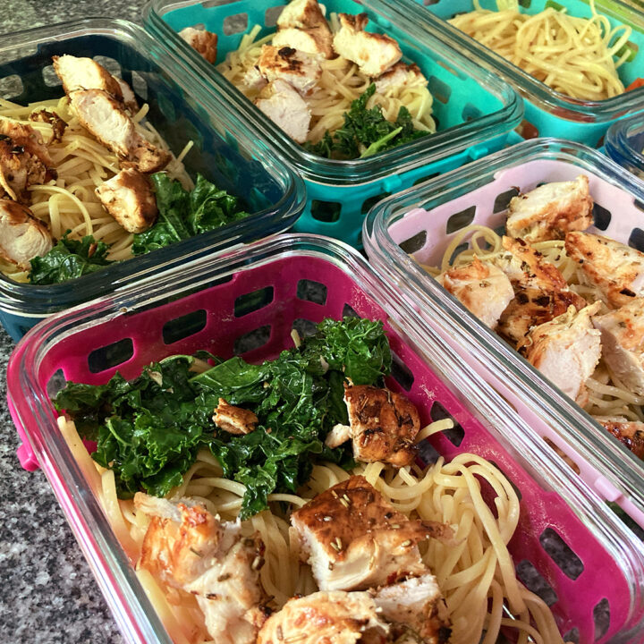 Zesty Chicken Bowls with Sauteed Kale and Pasta